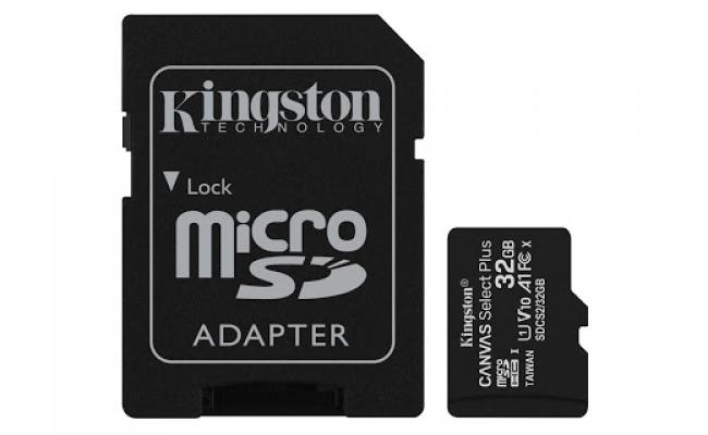 Kingston Canvas Select 64GB MicroSDHC Class 10 MicroSD Memory Card UHS-I 80MB/s R Flash Memory Card with Adapter