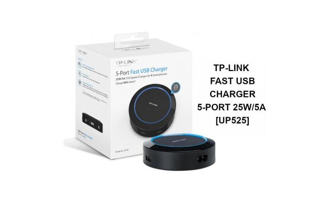 TP LINK 5-PORT FAST USB CHARGER 25W/5A FULL SPEED CHARGES FOR 5 SMARTPHONES CHARGE 65%FASTER