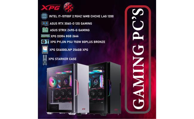XPG DESKTOP, CPU INTEL I7-10700F, DDR4 /8GB ,SSD 256GB M.2 ,XPG PYLON PSU 750W  80PLUS BRONZE, XPG STARKER  CASE