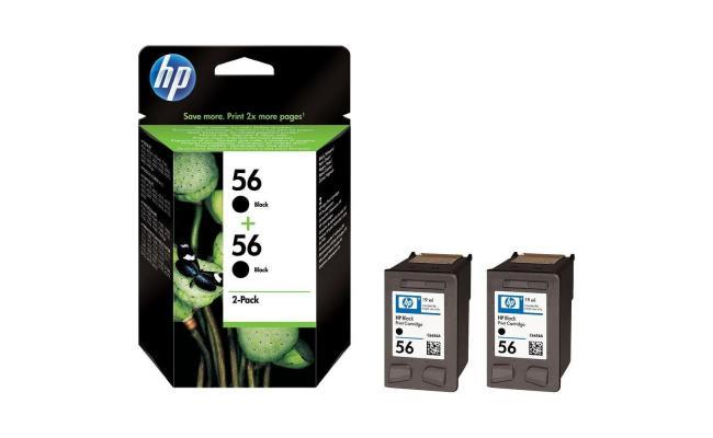 HP C9502AE (56) Black Ink Cartridge 2-Pack (Original)
